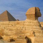 Sphinx and pyramids in Giza