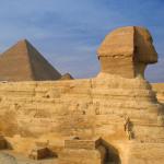 Sphinx and pyramids in Giza
