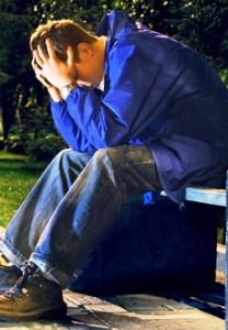 Troubled Person on Bench