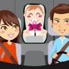 Happy family sitting inside car