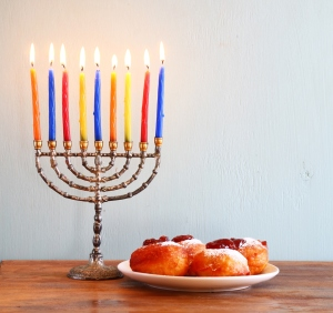 Chanuka Menorah and Doughnuts