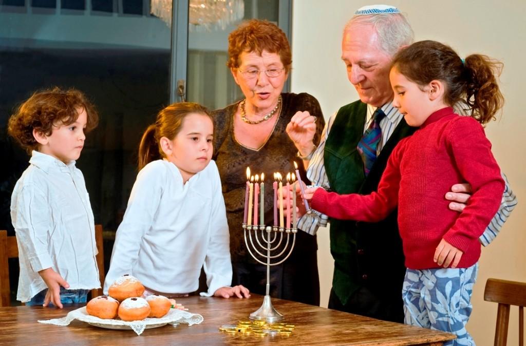 Children and Grandparents Celebrating Chanukah